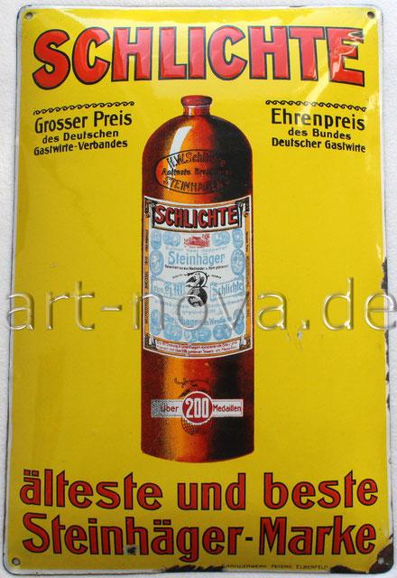 Werbeschild von Schlichte Steinhäger altes Original um 1920!