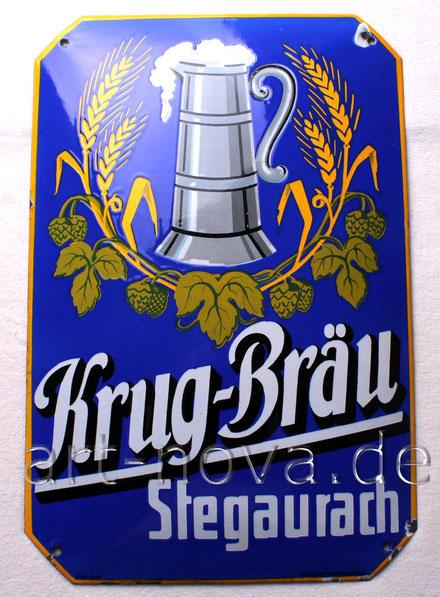 Emailschild der Brauerei Krug-Bräu Stegaurach bei Bamberg um 1920