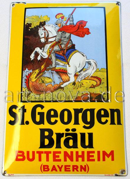 Werbeschild der Brauerei St. Georgenbräu Buttenheim um 1930