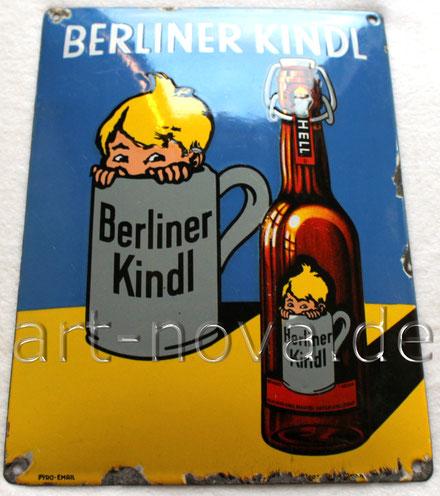 Altes Emailschild der Brauerei Berliner Kindl von 1920, in sehr schöner Erhaltung!