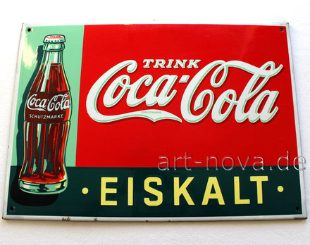 Emailschild Trink Coca Cola Eiskalt um 1930 in wirklich beeindruckender Erhaltung!