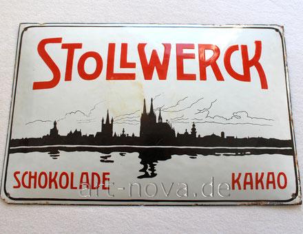 Beeindruckendes Emailschild von Stollwerck Schokolade um 1910