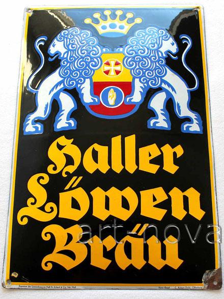 Emailleschild der Brauerei Schwäbisch Hall um 1930 in traumhafter Erhaltung!