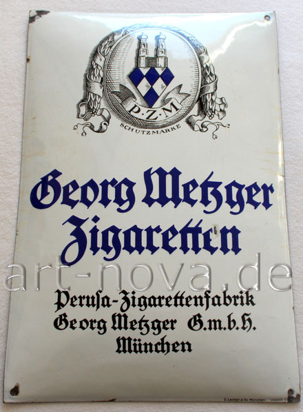 Emailschild Perusa Zigaretten Fabrik Georg Metzger München um 1930