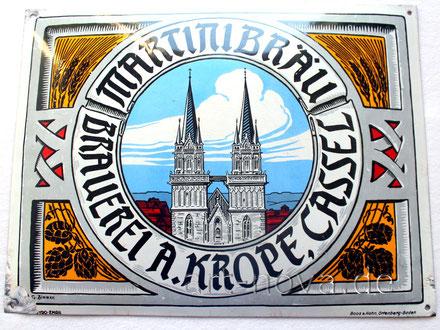 Emailschild Brauerei Martinibräu Brauerei A.Kropf, Cassel in traumhafter Erhaltung!
