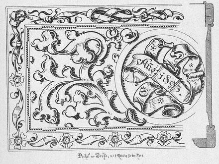Eine Ziervorlage für die Brandmalerei mit Blumen, Jahreszahl 1893 und Zierrahmen.