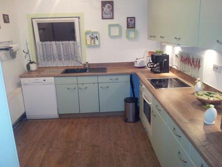 Große Küche, komplett mit Geschirr, Geschirrspüler,Kaffeemaschine,Padmaschine,Toaster und Microwelle/Grill, Kühl-Gefrier Schrank und ausziehbarem Esstresen