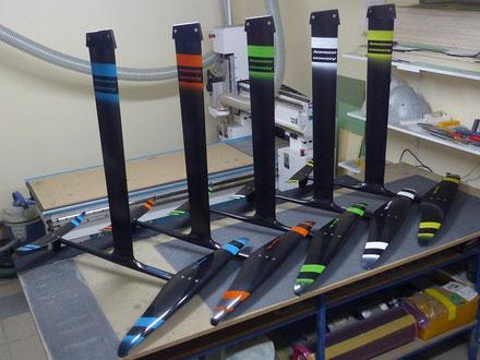 5 windfoils aeromod v2 dans l'atelier