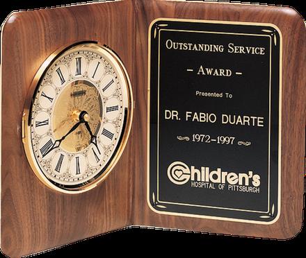 american walnut book clock plaque