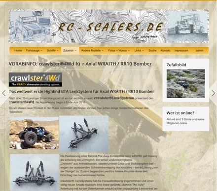 Große Ankündigung des crawlster®4Wd auf der RC-Scalers.de-Startseite