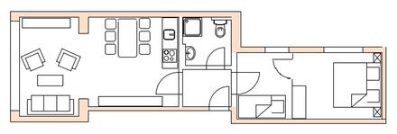 Grundriss Ferienwohnung Norderney Loft E im Strandloft 2 © norderney.top - Ferienwohnungen auf Norderney
