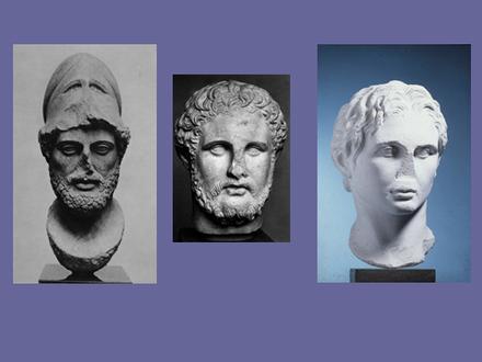 Von links nach rechts: Büsten von Perikles, wohl Philipp. II. und von Alexander (Archiv Hölscher)