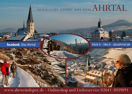 Winter-Postkarte vom Ahrtal