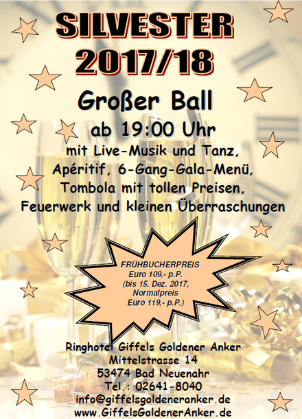 "Silvester Party im Hotel ""Giffels Goldener Anker"" in Bad Neuenahr"