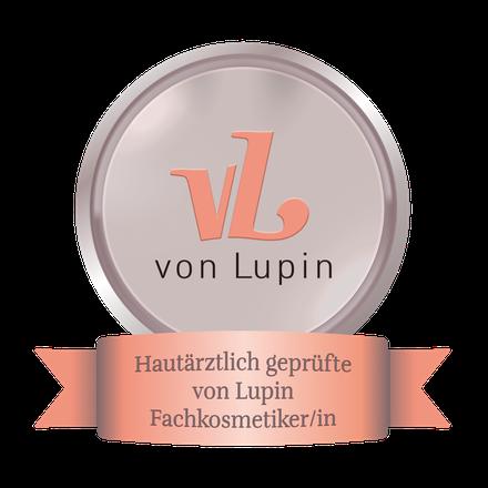 Logo Von Lupin Kosmetik Cosmetic, Zertifikat hautärztliche Prüfung, VL, Von Lupin