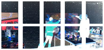 Atelier Krefeld, Künstlerduo, Künstlerpaar, work in progress, Dr. Tölke, abstrakte Malerei, Porträt, Köpfe, Landschaft, Empathie, Territorien, Kunst Krefeld, Kunst Düsseldorf, Raum, Bühne
