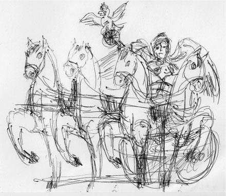 Zeichnung Michael Bartsch_ Quadriga Eröffnungskarte