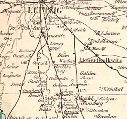 Kartenausschnitt von 1864 Quelle: Deutsche Fotothek