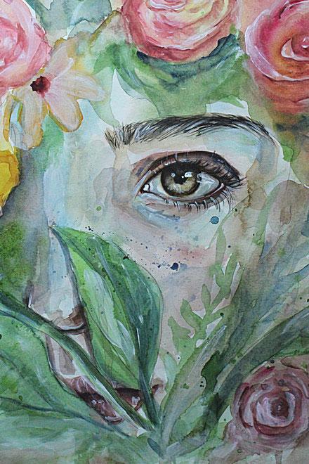 Acryl Aquarell Porträt eines Auges und Pflanzen, sowie floralem Hintergrund © Ayla Phoenix Art