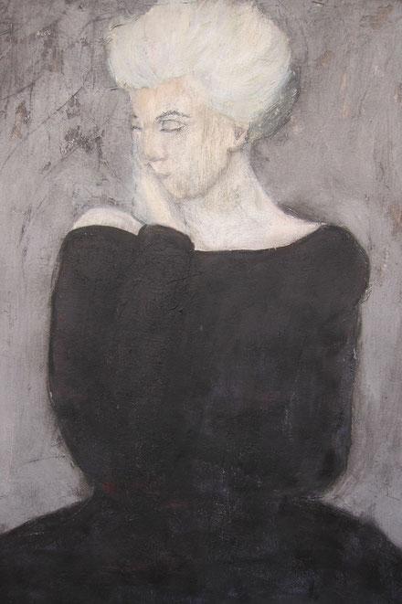 Ohne Worte ist die gemalte Dame im schwarzen Kleid - eine vielschichtige zarte Malerei