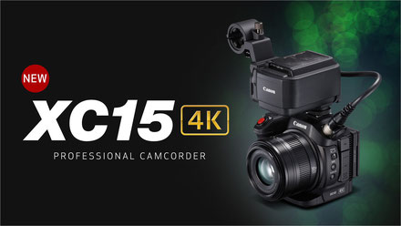 Canon 4K Camcorder XC15 mit Audio-Adapter