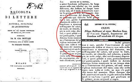 """Bottari G., Ticozzi S., """"Raccolta di lettere sulla pittura, scultura ed architettura"""", Milano, 1822 Vol. II, pp.494-534, p. 510"""