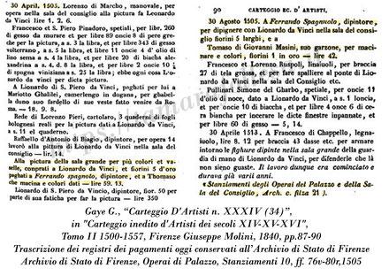 Leonardo_Battaglia di Anghiari_Fernando Spagnuolo_Archivio di Stato di Firenze_Carteggio inedito d'Artisti 1505