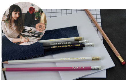 'Dream F*cking Big' Printed Pencils By DirtyWorks, featured in the PASiNGA curated Christmas artisan gift guide