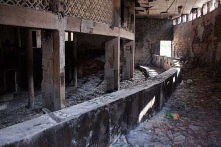 L'hémicycle de l'Assemblée nationale du Burkina Faso, incendiée lors de la révolte populaire qui a mis fin au régime de Blaise Compaoré.