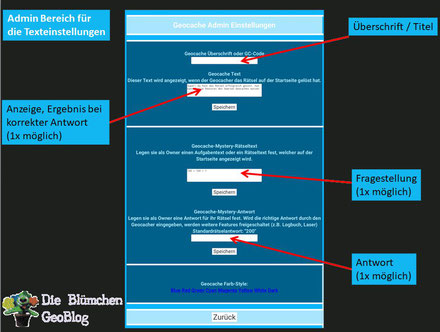 SmartGeocache Einstellmöglichkeiten Rätsel