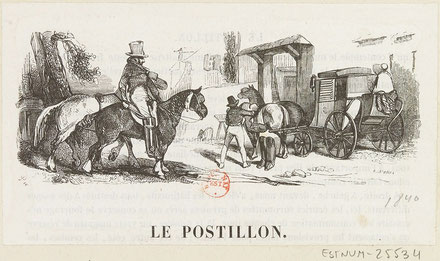 Le postillon, estampe d'Henry Monnier (1799-1877) Gallica.bnf.fr/Bibliothèque nationale de France