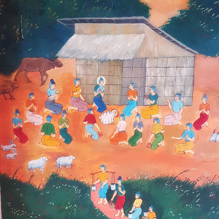 Nativité khmère (détail de la fresque de l'église ND du Sourire de Chomkatieng)