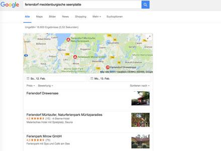 Webseite Ferienhaus Google Ranking