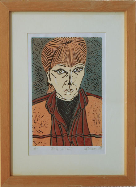 Self-portrait - Linocut (Multiple Colours by Anne Berendt