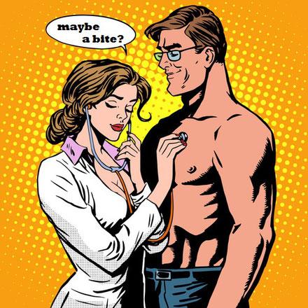 Comic: Frau in weißem Kittel mit geschlossenen Augen und Stehtoskop. Muskulöser, lächelnder Mann mit nacktem Oberkörper.