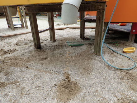 砂がでてきています。