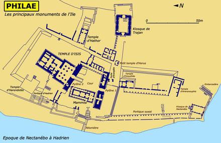Philae : Plan des principaux monuments de l'île