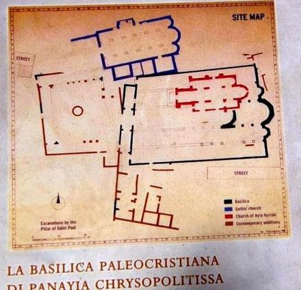 Paphos : Plan du site de la Basilique paléochrétienne Panayia Chrysopolitissa - Chypre