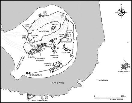 Butrint (Buthrotum) : Plan du site archéologique (Albanie)