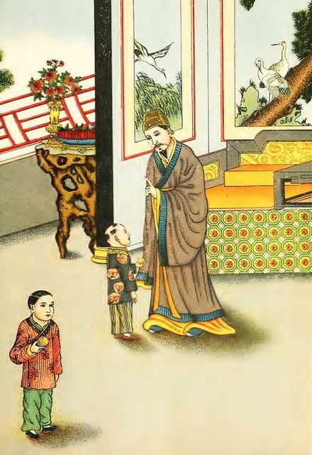 K'ong Yong choisit la plus petite poire. Henri Doré : ... Superstitions en Chine. Troisième partie : Popularisation des trois religions. La doctrine du confucéisme (Jou-kiao). Variétés sinologiques n° 51, Zi-ka-wei, 1919.