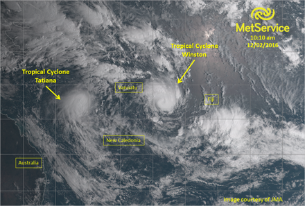 Tropical cyclone Tatiana and Tropical cyclone Winson to the East, twin cyclones.  from Meteorological Service of New Zealand Ltd 2008-2016