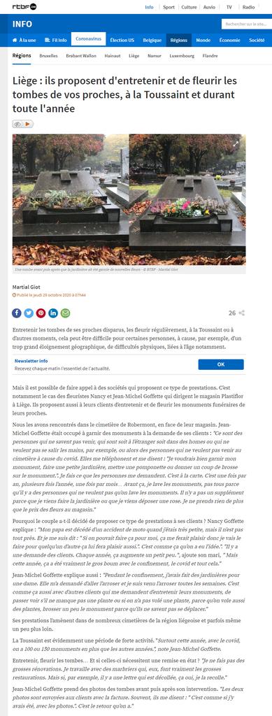 Article dans le media de la RTBF au sujet de Plastiflor et de son service de garnissage de monuments funéraires