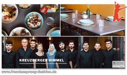Unseren Freudensprung der Woche machen wir für den Kreuzberger Himmel, ein Restaurant in dem geflüchtete Menschen syrische Spezialitäten zubereiten