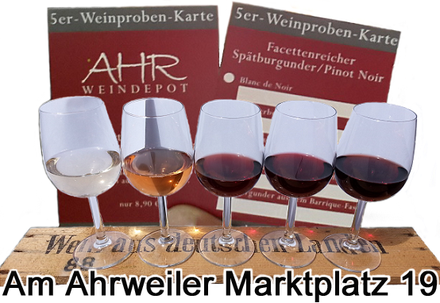 """5er-Weinprobe an der Ahr in Ahrweiler im Ahrweindepot. """"Facettenreicher Spätburgunder""""."""