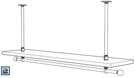 Bauanleitung  für eine abgehängte Kleiderstange aus Rohren und Temperguss
