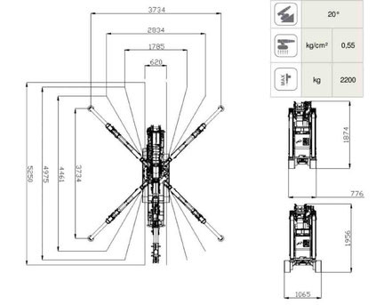 Minikran Kranvermietung Mietkran Leistungsdiagramm Innenmontage Glasmontage