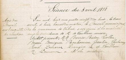 délibération du 3 avril 1898.