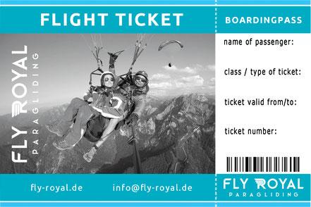 Gutschein Geschenk Ticket Gleitschirm Tandemflug