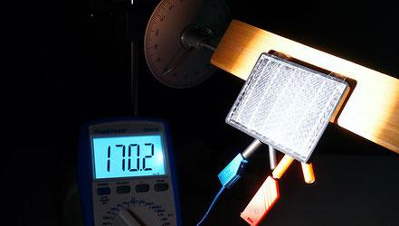 Experiment zur Untersuchung der Auswirkung des Einfallswinkels des Lichts.