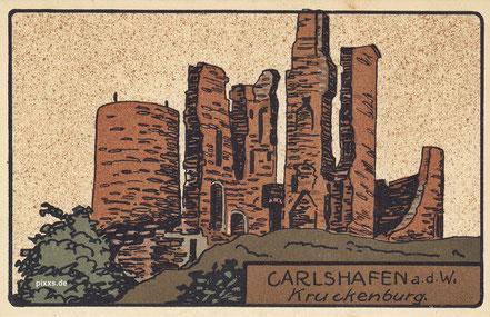 Künstler Lithographie der Krukenburg um 1910 als AK
